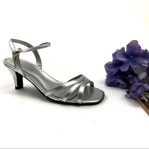 Silver Predictions Strappy Heel Sandals Size 5 1/2
